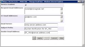 Unisphere Configure Email